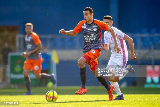 Ellyes Skhiri of Montpellier defended by Xavier Chavalerin of Stade de Reims during the Montpellier Vs Stade de Reims French Ligue 1 regular season...