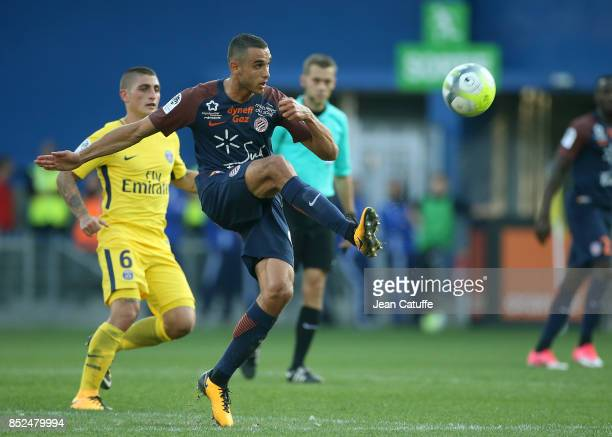 Ellyes Skhiri of Montpellier during the French Ligue 1 match between Montpellier Herault SC and Paris Saint Germain at Stade de la Mosson on...