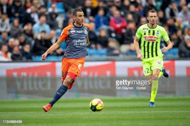 Ellyes Skhiri of Montpellier in action during the Montpellier V Angers French Ligue 1 regular season match at Stade de la Mosson on March 10th 2019...