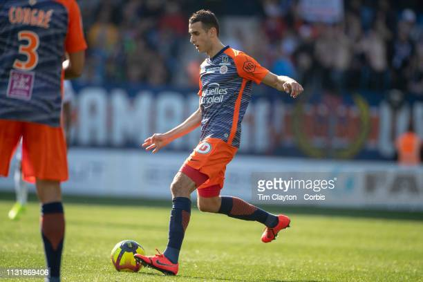 Ellyes Skhiri of Montpellier in action during the Montpellier Vs Stade de Reims French Ligue 1 regular season match at Stade de la Mosson on February...