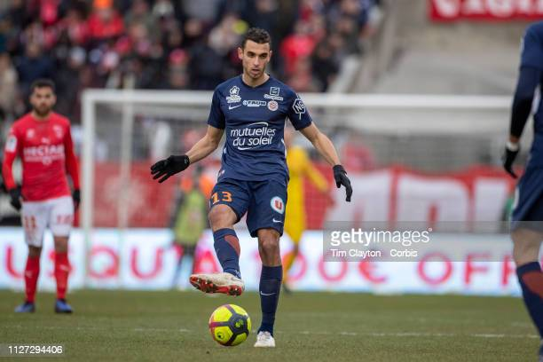 Ellyes Skhiri of Montpellier in action during the Nimes V Montpellier French Ligue 1 regular season match at Stade des Costières on February 3rd 2019...