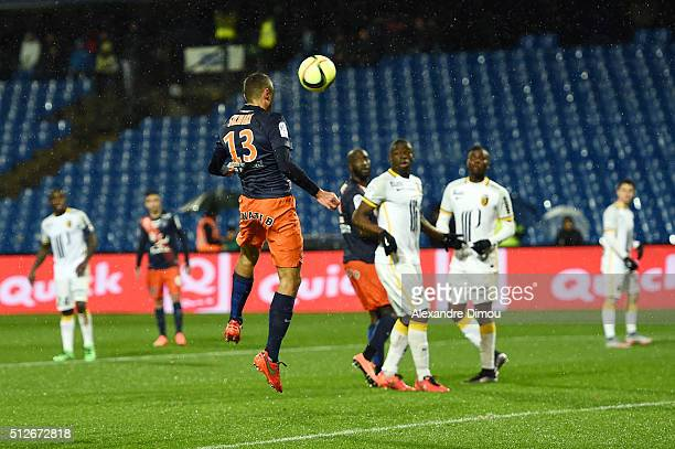 Ellyes Skhiri of Montpellier scores during the French Ligue 1 game between Montpellier Herault SC v Lille OSC at Stade de la Mosson on February 27...