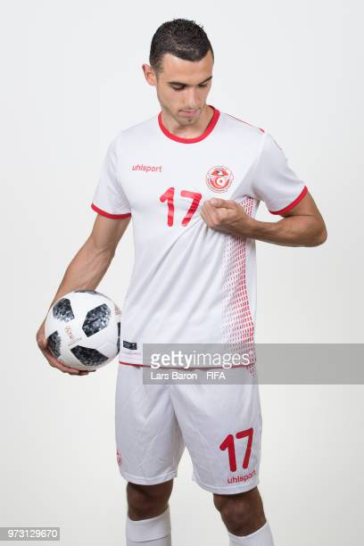 Ellyes Skhiri of Tunisa poses during the official FIFA World Cup 2018 portrait session on June 13 2018 in Moscow Russia