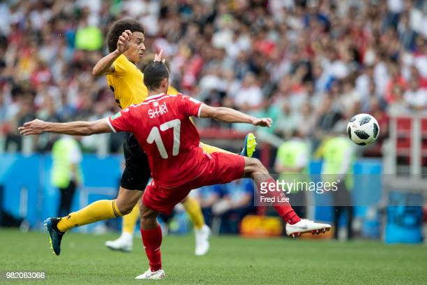 Ellyes Skhiri of Tunisia Axel Witsel of Belgium during the 2018 FIFA World Cup Russia group G match between Belgium and Tunisia at the Otkrytiye...