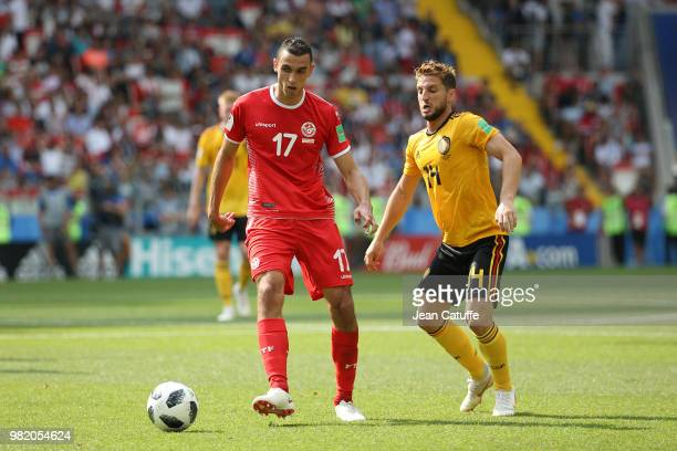 Ellyes Skhiri of Tunisia Dries Mertens of Belgium during the 2018 FIFA World Cup Russia group G match between Belgium and Tunisia at Spartak Stadium...
