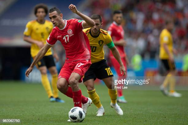 Ellyes Skhiri of Tunisia in action during the 2018 FIFA World Cup Russia group G match between Belgium and Tunisia at the Otkrytiye Arena on June 23...