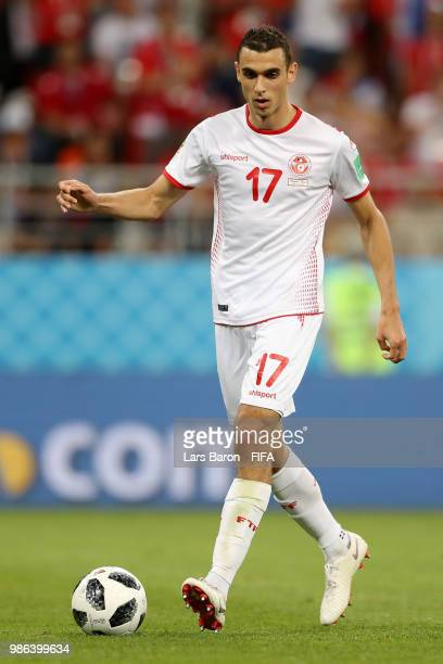 Ellyes Skhiri of Tunisia in action during the 2018 FIFA World Cup Russia group G match between Panama and Tunisia at Mordovia Arena on June 28 2018...