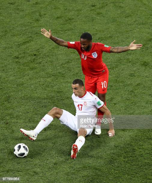 Ellyes Skhiri of Tunisia is challenged by Raheem Sterling of England during the 2018 FIFA World Cup Russia group G match between Tunisia and England...