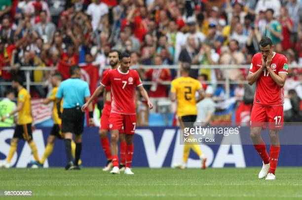Ellyes Skhiri of Tunisia looks dejected following his sides defeat in the 2018 FIFA World Cup Russia group G match between Belgium and Tunisia at...