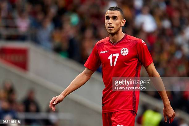 Ellyes Skhiri of Tunisia looks on during the friendly match of preparation for FIFA 2018 World Cup between Portugal and Tunisia at the Estadio AXA on...