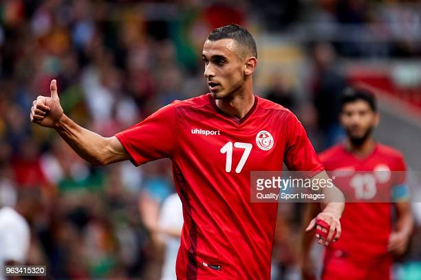 Ellyes Skhiri of Tunisia reacts during the friendly match of preparation for FIFA 2018 World Cup between Portugal and Tunisia at the Estadio AXA on...