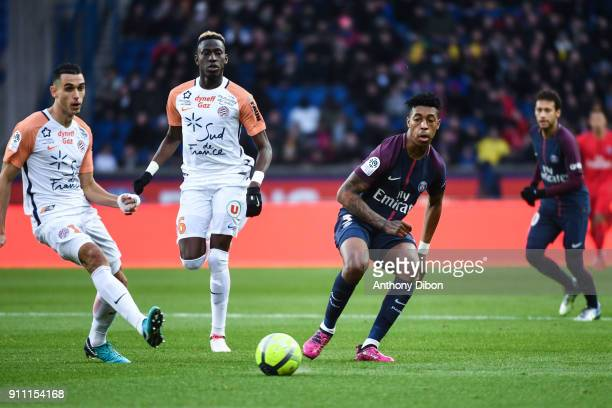 Ellyes Skhiri Salomon Sambia of Montpellier and Presnel Kimpembe during the Ligue 1 match between Paris Saint Germain and Montpellier Herault SC at...