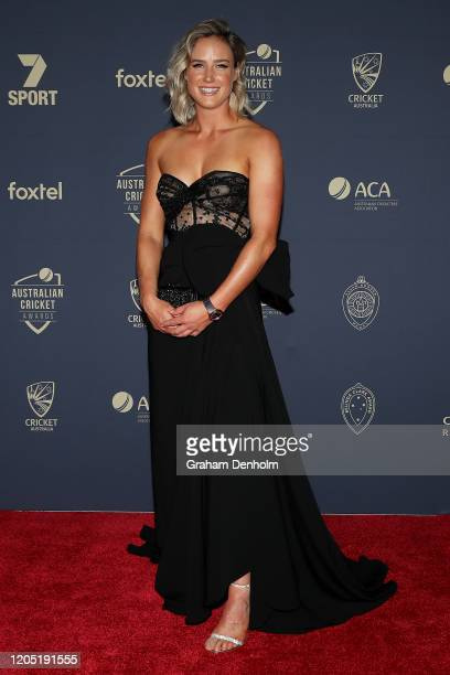 Ellyse Perry arrives ahead of the 2020 Cricket Australia Awards at Crown Palladium on February 10 2020 in Melbourne Australia