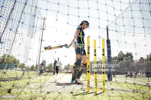 Ellyse Perry bats during an Australian Southern Stars training session at Sydney University on October 30 2014 in Sydney Australia