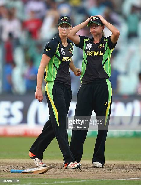 Ellyse Perry of Australia and mg looks dejected after West Indies hit the winning runs during the Women's ICC World Twenty20 India 2016 Final match...