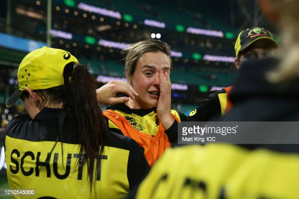 Ellyse Perry of Australia and team mates celebrate victory after the ICC Women's T20 Cricket World Cup Semi Final match between Australia and South...