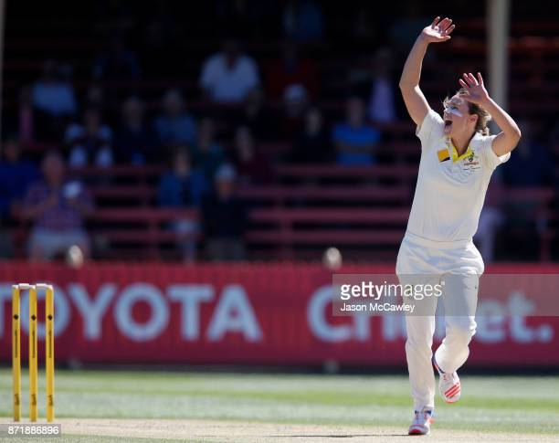 Ellyse Perry of Australia appeals during the Women's Test match between Australia and England at North Sydney Oval on November 9 2017 in Sydney...