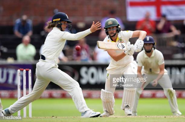 Ellyse Perry of Australia bats as Amy Jones of England attempts to take a catch during Day Four of the Kia Women's Test Match between England Women...
