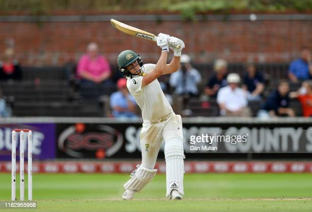 Ellyse Perry of Australia bats during day two of the Kia Women's Test Match between England Women and Australia Women at The Cooper Associates County...
