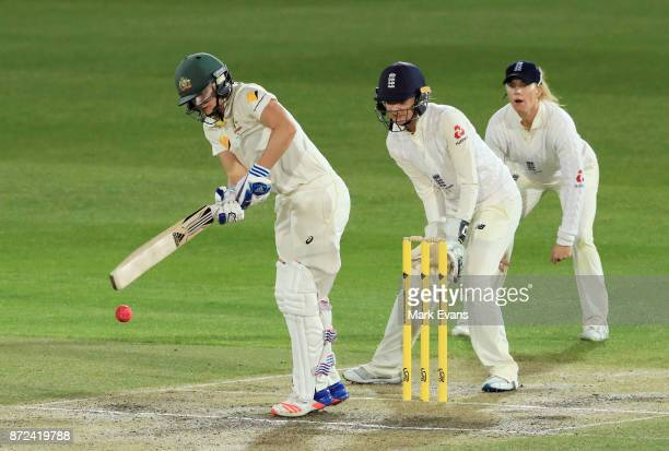 Ellyse Perry of Australia bats during day two of the Women's Test match between Australia and England at North Sydney Oval on November 10 2017 in...