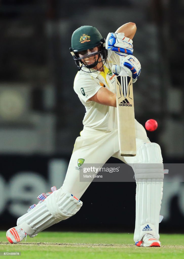 Ellyse Perry of Australia bats during day two of the Women's Test match between Australia and England at North Sydney Oval on November 10, 2017 in Sydney, Australia.