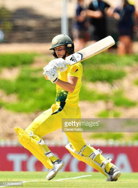 Ellyse Perry of Australia bats during game two of the One Day International Series between Australia and New Zealand at Karen Rolton Oval on February...