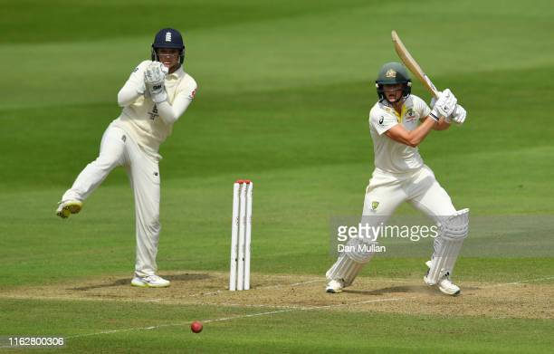 Ellyse Perry of Australia bats during the Kia Women's Test Match between England Women and Australia Women at The Cooper Associates County Ground on...