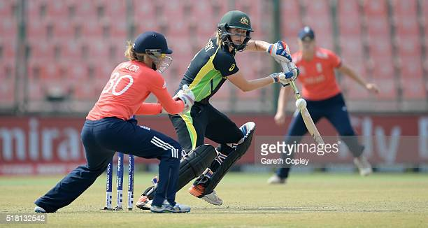 Ellyse Perry of Australia bats during the Women's ICC World Twenty20 India 2016 Semi Final between England and Australia at Feroz Shah Kotla Ground...