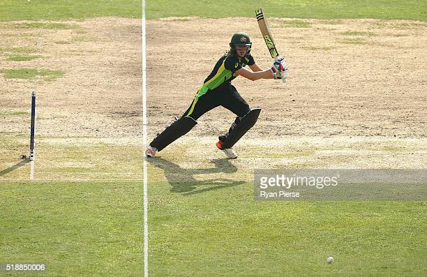 Ellyse Perry of Australia bats during the Women's ICC World Twenty20 India 2016 Final match between Australia and West Indies at Eden Gardens on...