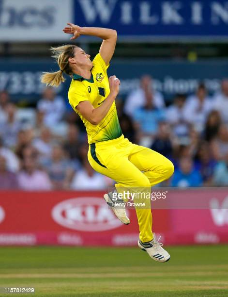 Ellyse Perry of Australia bowls a ball during the England v Australia 1st Vitality Women's IT20 match at Cloudfm County Ground on July 26, 2019 in...