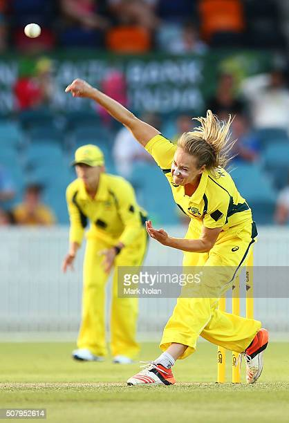 Ellyse Perry of Australia bowls during game one of the Women's ODI series between Australia and India at Manuka Oval on February 2 2016 in Canberra...