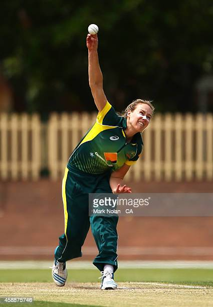 Ellyse Perry of Australia bowls during game two of the women's international one day series between Australia and the West Indies at Hurstville Oval...