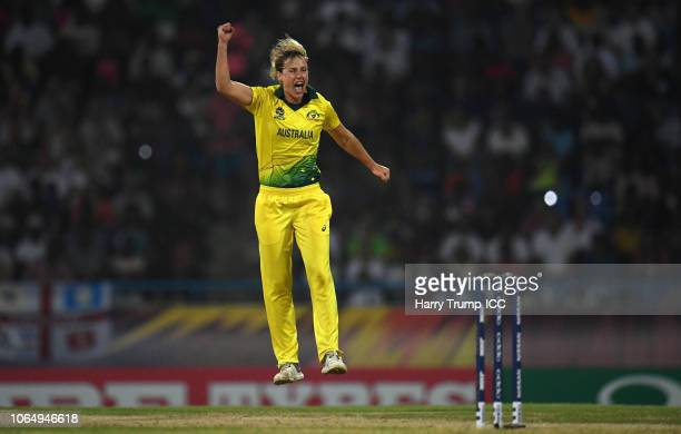 Ellyse Perry of Australia celebrates after dismissing Natalie Sciver of England during the ICC Women's World T20 2018 Final between Australia and...