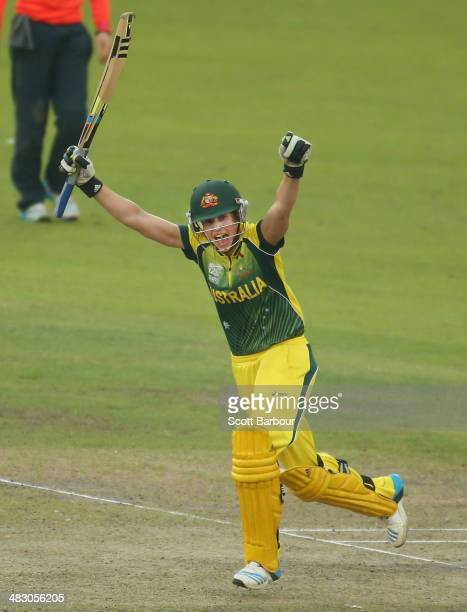 Ellyse Perry of Australia celebrates after hitting the winning runs to win the Final of the ICC Women's World Twenty20 Bangladesh 2014 between...