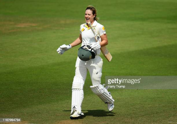 Ellyse Perry of Australia celebrates after scoring a century during Day Two of the Kia Women's Test Match between England Women and Australia Women...