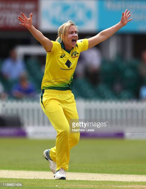 Ellyse Perry of Australia celebrates bowling Heather Knight of England LBW during the 1st Royal London Women's ODI between England and Australia at...