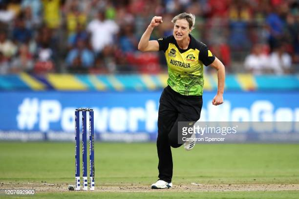 Ellyse Perry of Australia celebrates dismissing Shafali Verma of India during the ICC Women's T20 Cricket World Cup match between Australia and India...