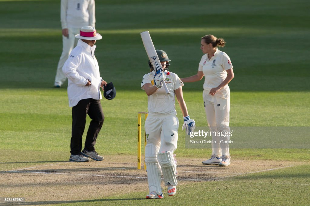Ellyse Perry of Australia celebrates her 150 runs during day three of the Women's Test match between Australia and England at North Sydney Oval on November 11, 2017 in Sydney, Australia.