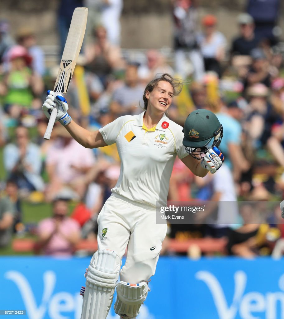 Ellyse Perry of Australia celebrates her century during day three of the Women's Test match between Australia and England at North Sydney Oval on November 11, 2017 in Sydney, Australia.