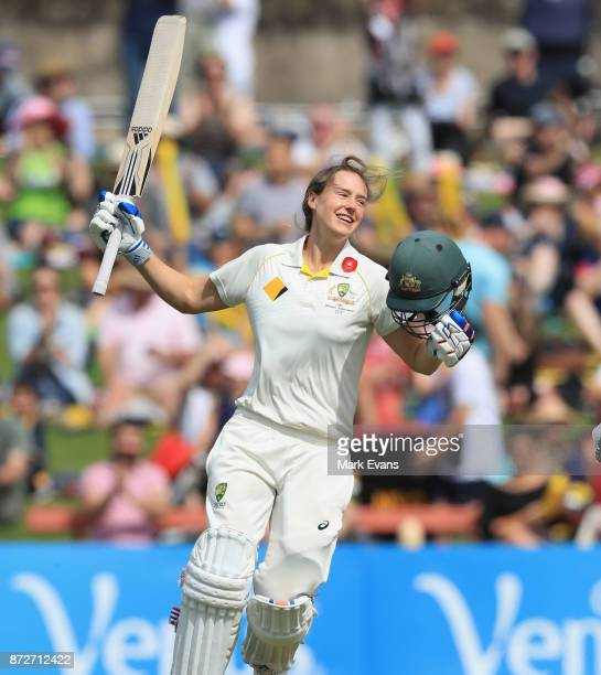 Ellyse Perry Of Australia Celebrates Her Century During Day Three The Womens Test Match Between