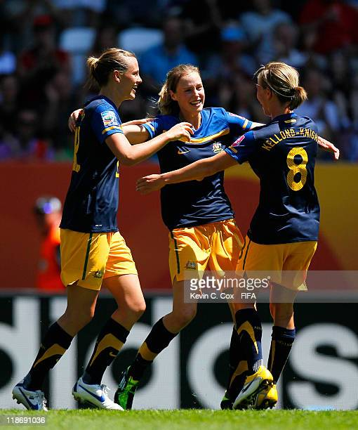 Ellyse Perry of Australia celebrates her goal against Sweden with Emily Van Egmond and Elise KellondKnight during the FIFA Women's World Cup 2011...