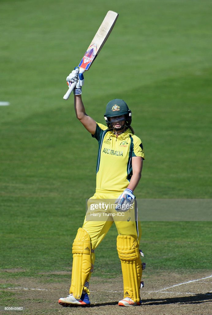 Ellyse Perry of Australia celebrates her half century during the ICC Women's World Cup 2017 match between Australia and New Zealand at The County Ground on July 2, 2017 in Bristol, England.