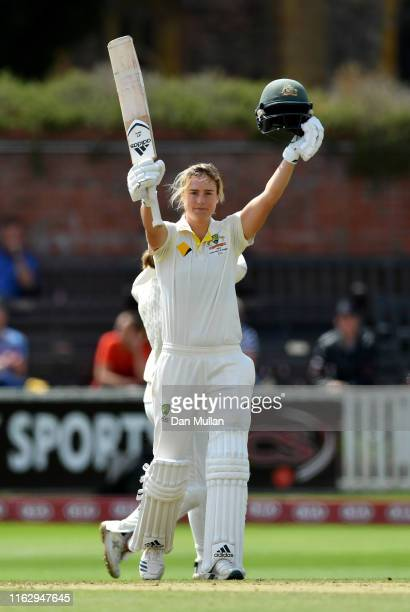 Ellyse Perry of Australia celebrates reaching her century during day two of the Kia Women's Test Match between England Women and Australia Women at...