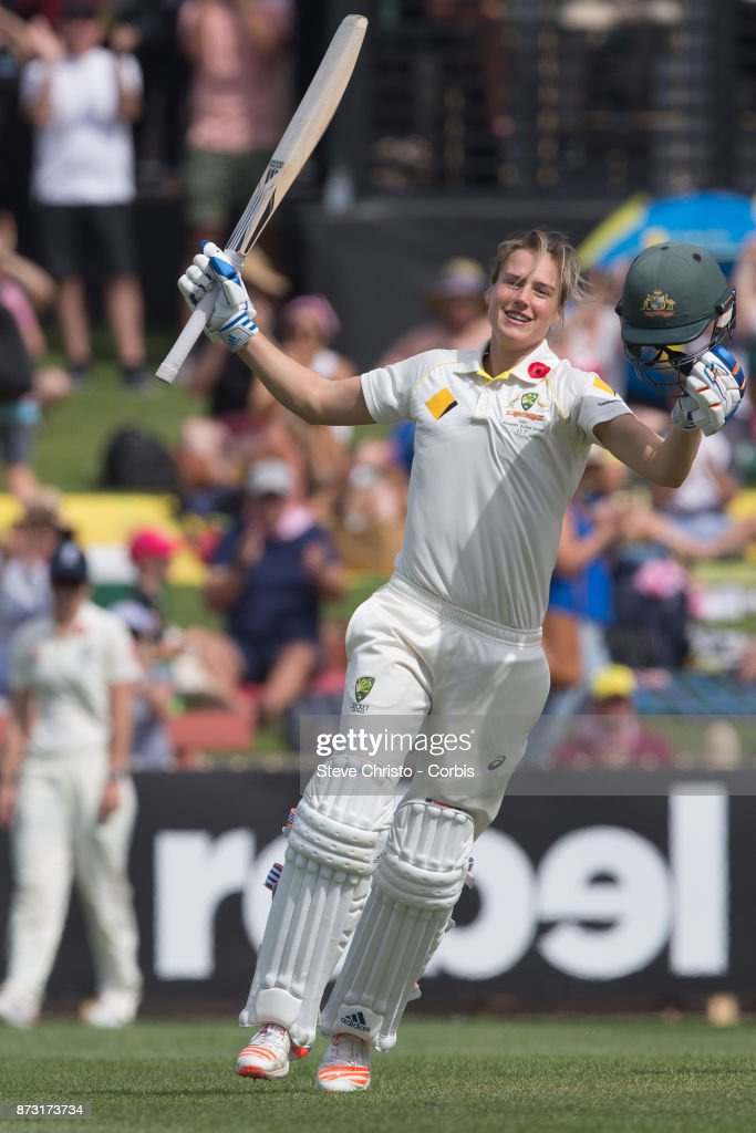 Ellyse Perry of Australia celebrates scoring a century during day three of the Women's Test match between Australia and England at North Sydney Oval on November 11, 2017 in Sydney, Australia.