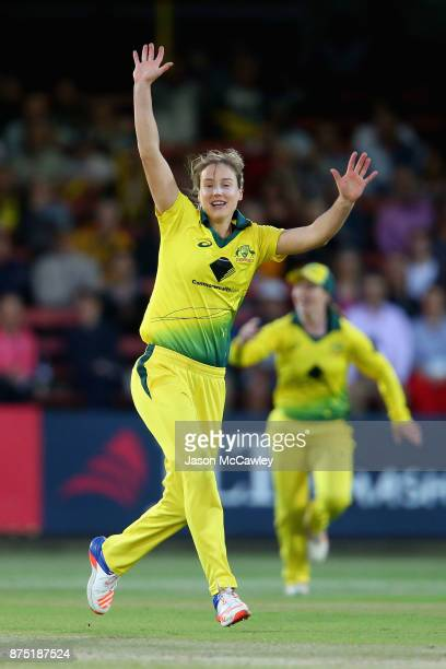 Ellyse Perry of Australia celebrates taking a wicket during the first Women's Twenty20 match between Australia and England at North Sydney Oval on...