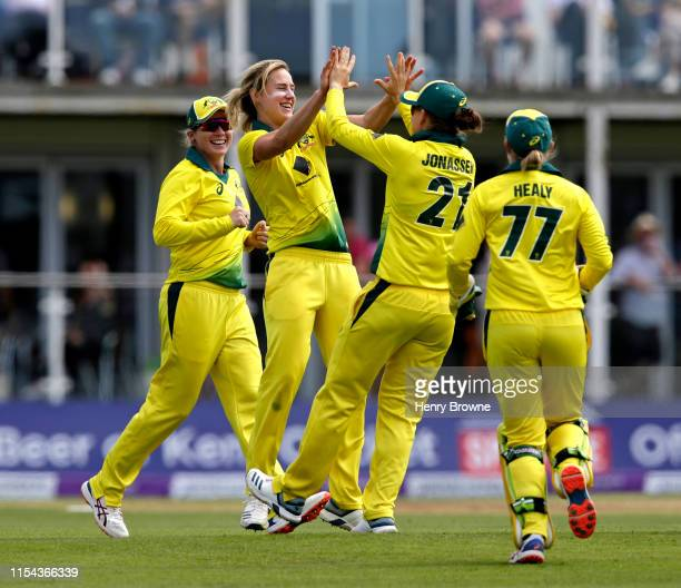 Ellyse Perry of Australia celebrates taking the wicket of Danni Wyatt of England during the England v Australia 3rd Royal London Women's ODI at The...