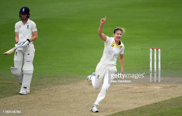 Ellyse Perry of Australia celebrates taking the wicket of Tammy Beaumont of England during Day Three of the Kia Women's Test Match between England...