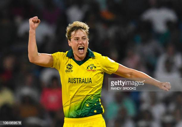 Ellyse Perry of Australia celebrates the dismissal of Nat Sciver of England during the ICC Women's World T20 final cricket match between Australia...