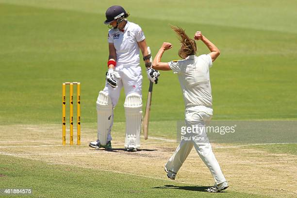 Ellyse Perry of Australia celebrates the wicket of Arran Brindle of England during day three of the Women's Ashes Test match between Australia and...