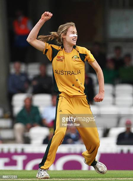 Ellyse Perry of Australia celebrates the wicket of Charlotte Edwards of England during the ICC Women's World Twenty20 Semi Final between England and...